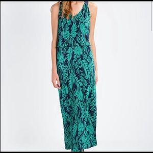 Banana Republic Tropical Maxi Dress Pleated